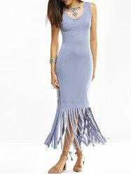 U Neck Fringed Tank Dress