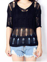 Women's Pure Color High Low Knitted Top - BLACK ONE SIZE