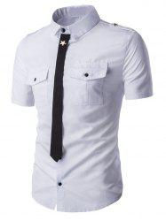 Epaulet Patch Pockets Faux Tie Short Sleeve Shirt For Men -