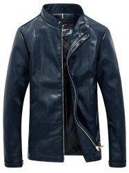 Solid Color Faux Leather Zip Up Stand Collar Jacket For Men - BLUE