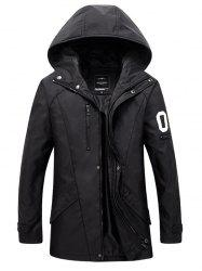 Zippered Snap Button Hooded Coat For Men - BLACK