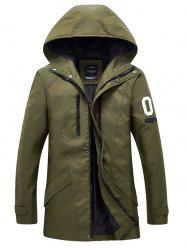 Zippered Snap Button Hooded Coat For Men