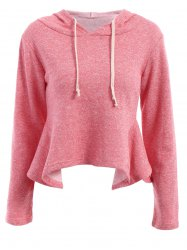 Casual Style Solid Color Ruffles Long Sleeve Women's Hoodie -