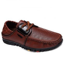 Fashionable Breathable and Tie Up Design Casual Shoes For Men - BROWN
