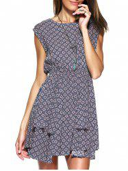 Stylish Women's Round Collar Elastic Waisted Zipper Back Sleeveless Print Dress -