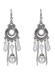 Faux Pearl Tassel Round Drop Earrings -