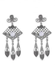 Leaf Rhinestone Drop Earrings - SILVER