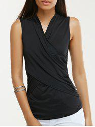 Brief Women's Plunging Neck Twist Pure Color Tank Top -