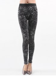 Printed Knitted Leggings For Women - BLACK
