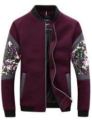 Floral Splicing Bomber Jacket