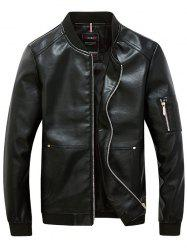 Rib Garniture Zippered Faux Leather Jacket pour les hommes - Noir 4XL