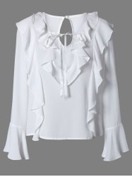 Plunging Neck Bell Sleeve Ruffled Blouse - WHITE L