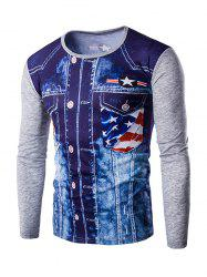Round Neck 3D Eagle Flag Printing Long Sleeves T-Shirt For Men - GRAY 2XL