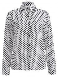 Long Sleeve Shirt Collar Polka Dot Chiffon Shirt -
