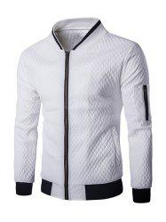 Multi-Pocket Argyle Pattern Stand Collar Long Sleeves PU Leather Jacket For Men - WHITE 2XL