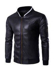 Multi-Pocket Argyle Pattern Stand Collar Long Sleeves PU Leather Jacket For Men