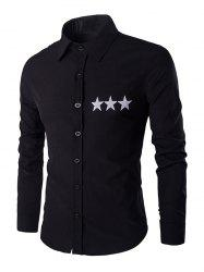 Star Pattern Solid Color Shirt Collar Long Sleeves Shirt For Men