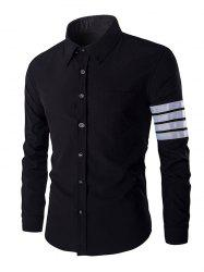 One Pocket Striped Braid Design Shirt Collar Long Sleeves Shirt For Men -