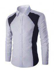 Turn-down Collar Long Sleeves Color Block Shirt For Men