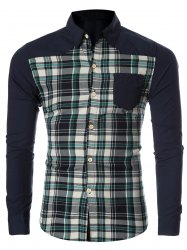 Checked Spliced Breasted Pocket Long Sleeve Shirt For Men - GREEN 2XL