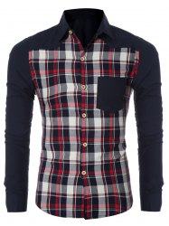 Checked Spliced Breasted Pocket Long Sleeve Shirt For Men