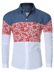 Floral Print Chambray Spliced Long Sleeve Shirt For Men