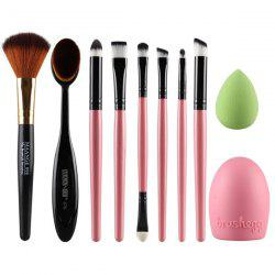 Stylish 6 Pcs Eye Makeup Brushes Set + Blush Brush + Foundation Brush + Brush Egg + Makeup Sponge - PINK