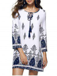 Printed Shift Boho Tunic Dress - WHITE