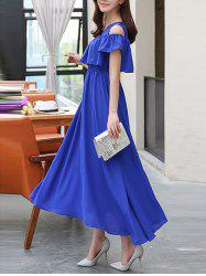 Cold Shoulder Flounce Swing Wedding Guest Dress
