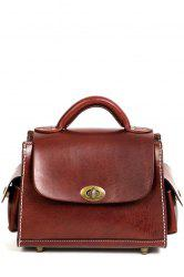Stitching Hasp Tote Bag - WINE RED