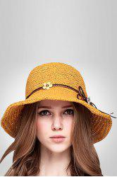 Flower Lace Up Embellished Straw Hat