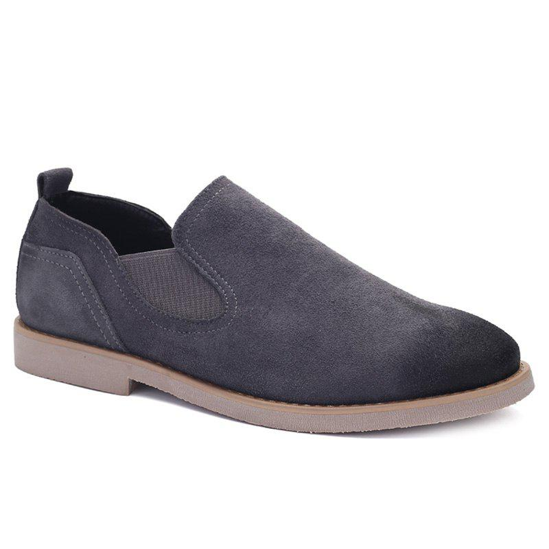 Fancy Simple Suede and Elastic Band Design Casual Shoes For Men