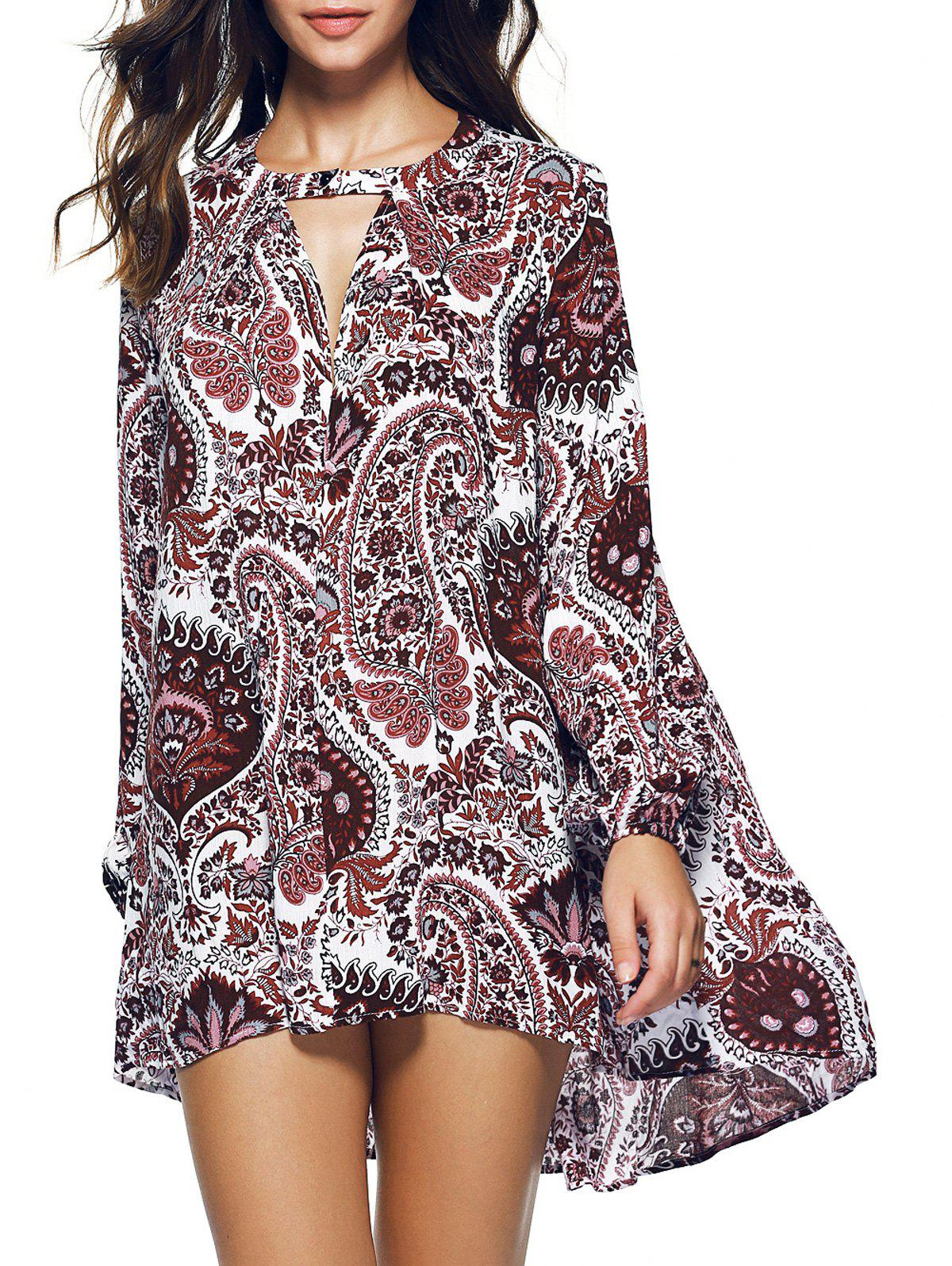 Outfits Paisley Long Sleeve Asymmetric Bohemian Dress