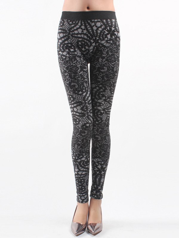 Printed Knitted Leggings For WomenWOMEN<br><br>Size: ONE SIZE; Color: BLACK; Style: Fashion; Material: Nylon; Waist Type: Mid; Pattern Type: Floral; Elasticity: Elastic; Weight: 0.113kg; Package Contents: 1 x Leggings;