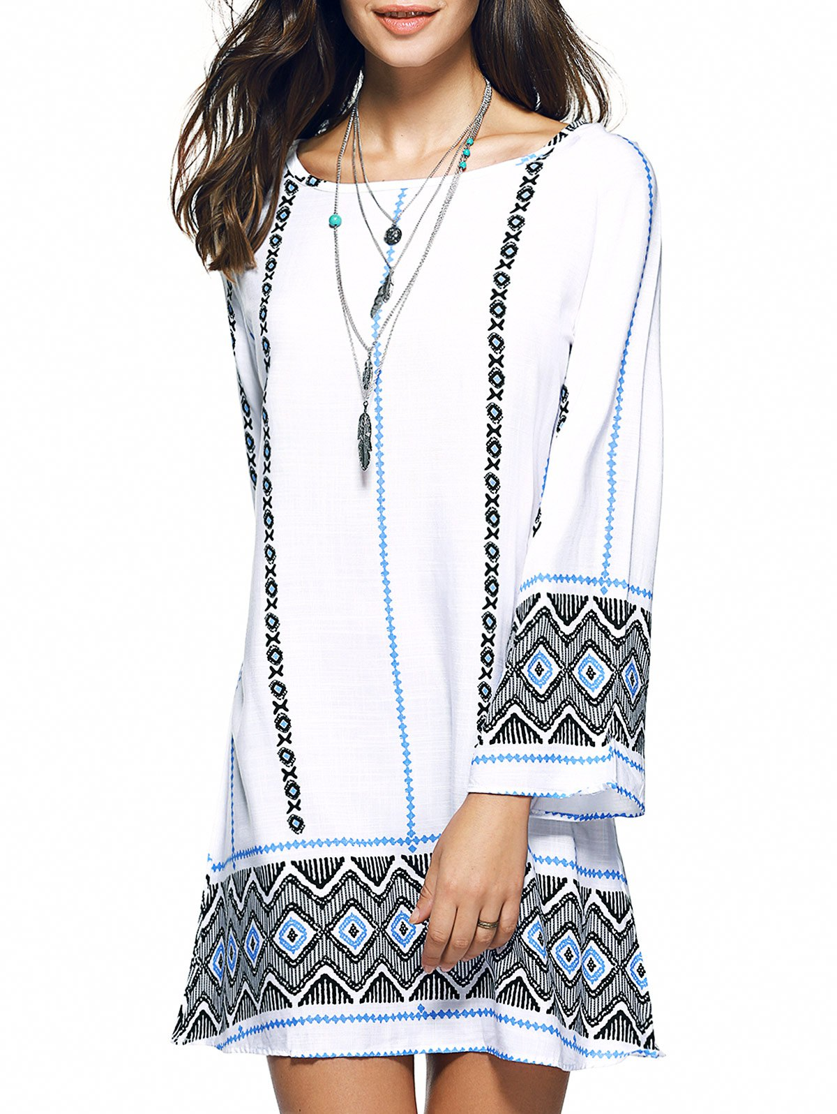 Cheap Bohemian Zigzag Rhombus Print Oversized Mini Dress