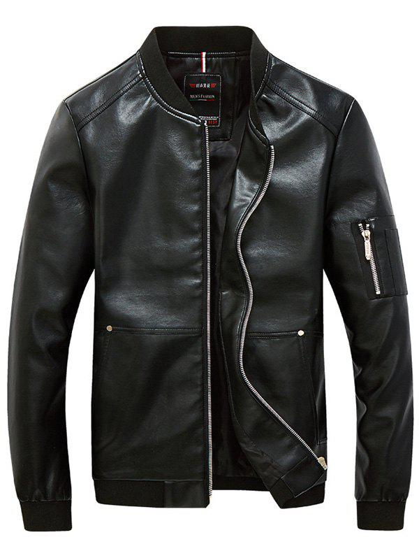 Rib Garniture Zippered Faux Leather Jacket pour les hommes Noir 4XL