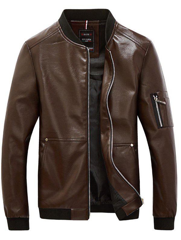 Rib Garniture Zippered Faux Leather Jacket pour les hommes Café L