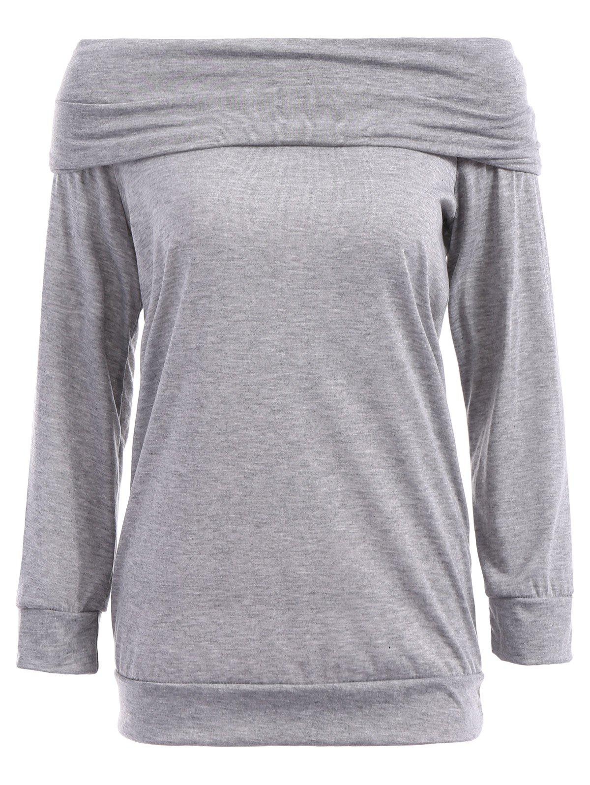 6f7cb237442 Affordable Sexy Off The Shoulder Solid Color Long Sleeve Sweatshirt For  Women