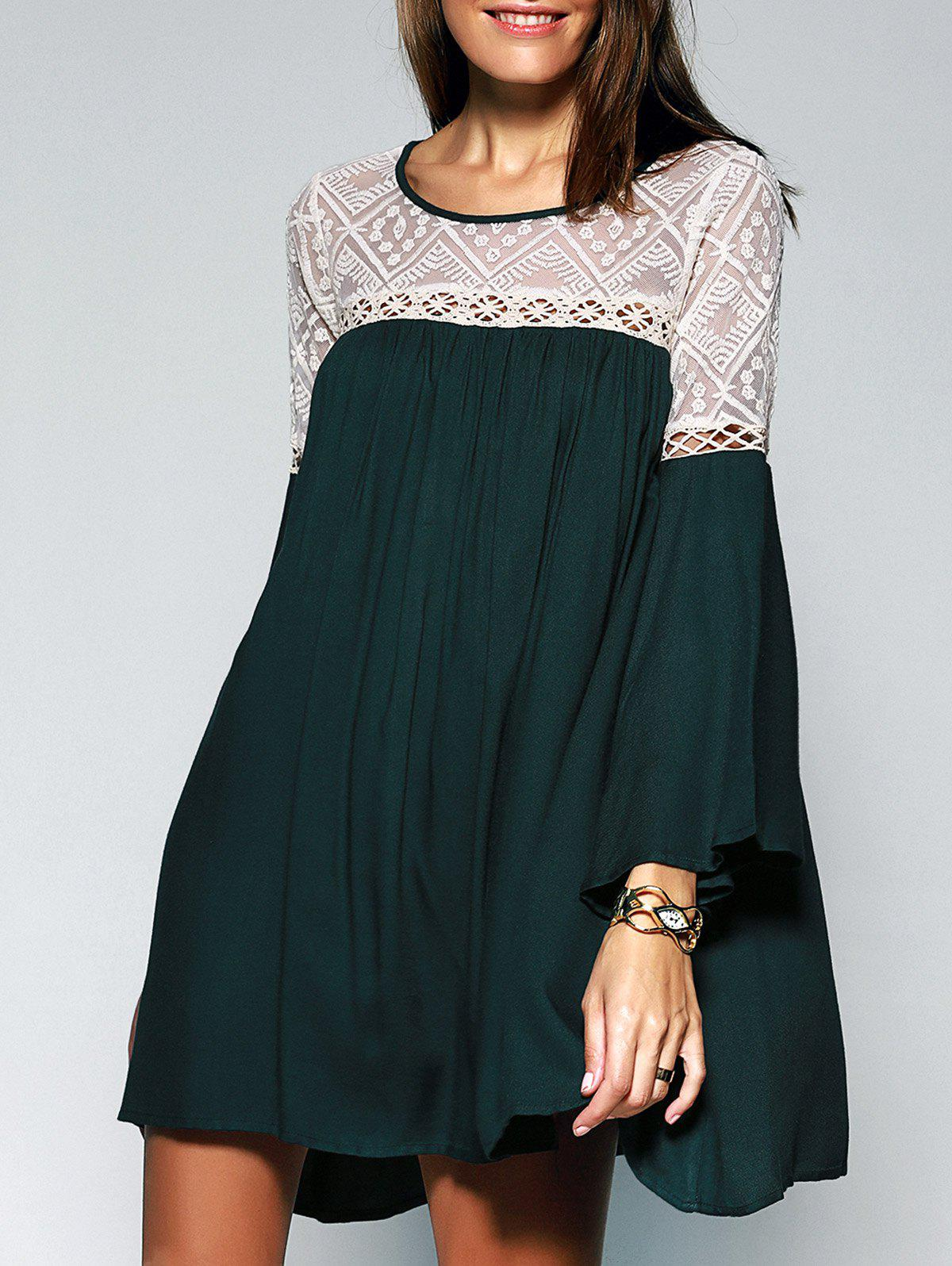 Sale Loose-Fitting Women's Scoop Neck Lace See-through Bell Sleeves Tunic Dress