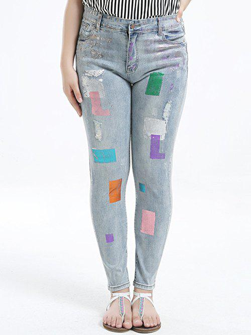 Trendy Plus Size Chic Gilding Skinny Jeans
