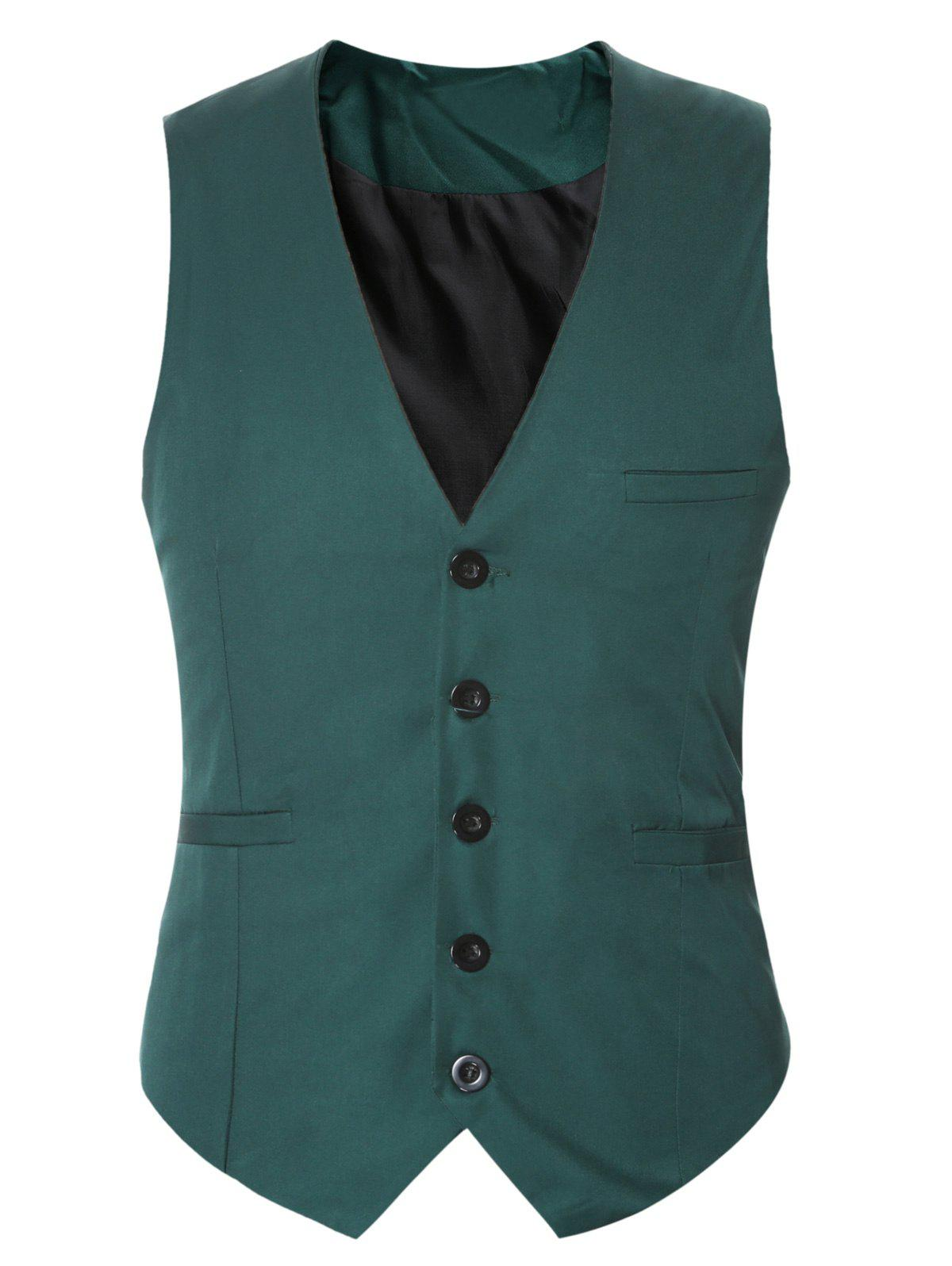 Fashion Buckle Back Solid Color Single Breasted Vest For Men