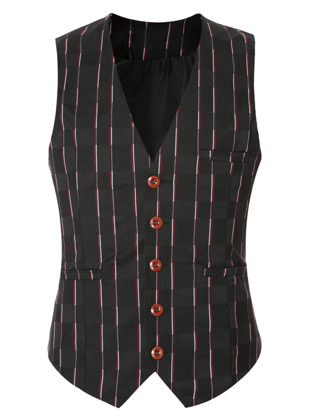 Store Striped Plaid Buckle Back Single Breasted Vest For Men