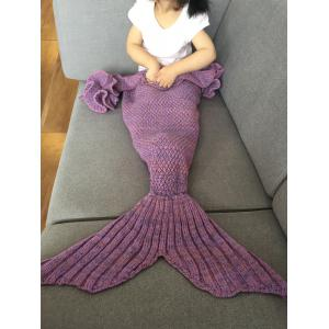 Falbala Shape Mermaid Tail Design Knitted Baby Blankets - Light Purple - S