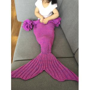 Falbala Shape Mermaid Tail Design Knitted Baby Blankets - Rose Red - 3xl