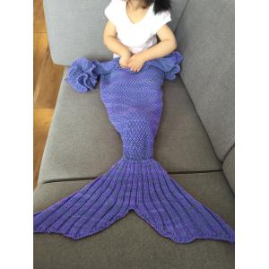 Falbala Shape Mermaid Tail Design Knitted Baby Blankets - Bluish Violet - M