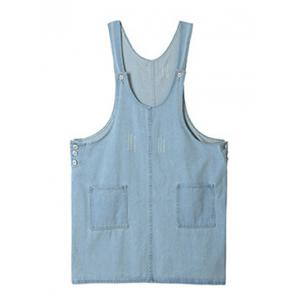 Plus Size Side Button Denim Pinafore Dress - Light Blue - Xl