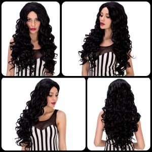Faddish Long Curly Black Women's Synthetic Hair Wig