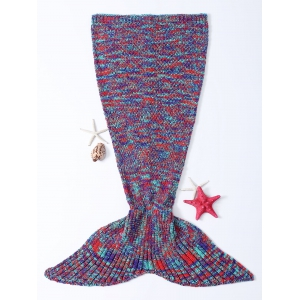 Chic Quality Warmth Colorful Knitted Fish Tail Design Blanket - Colormix