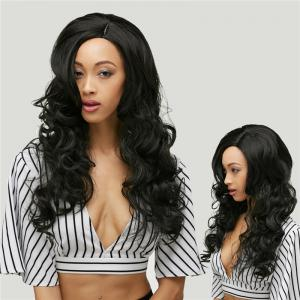 Gracefully Long Side Parting Black Loose Wave Women's Synthetic Hair Wig