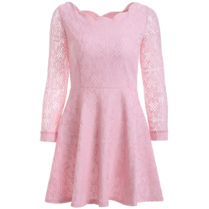 Floral Embroidered Lace Casual Wedding Dress - Pink - L